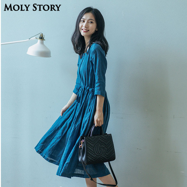 531aeb183afd 100% Linen Dress Blue Casual Loose Half Sleeve Elegant Dresses Robe Femme  Office Ladies Work Wear Soft Fabric