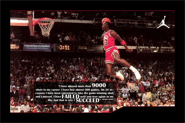DIY Frame SUCCEED Michael Jordan Classic Flying Dunk MOTIVATIONAL Inspirational Poster Print For Home Office