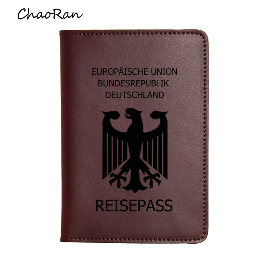 Engraved Name Germany Passport Holders Case Multi Credit ID Card Travel Slim Long Wallet Crazy Horse Leather Cover for Passport