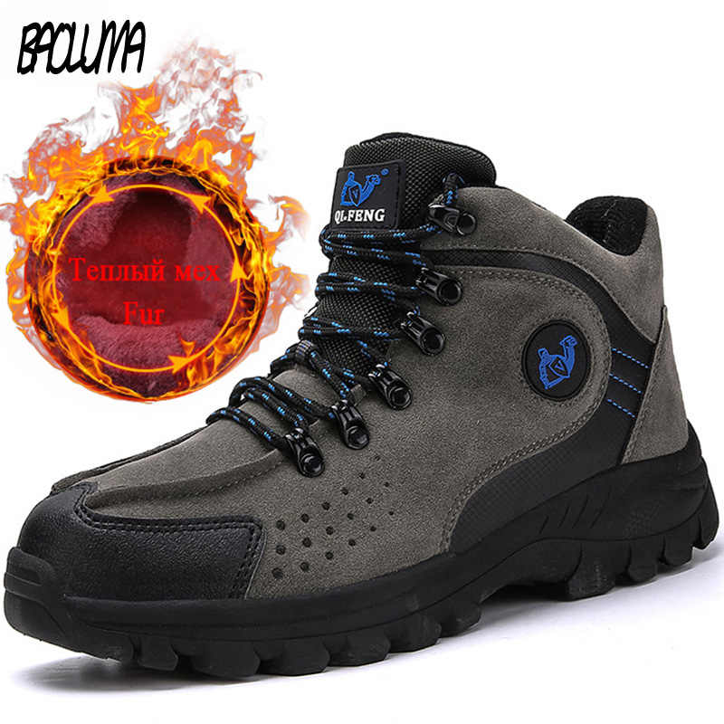 Бренд Мужские ботинки зимние теплые меховые зимние ботинки на открытом воздухе Для мужчин, Зимние ботильоны Нескользящие кроссовки мужской Повседневное супер теплая обувь