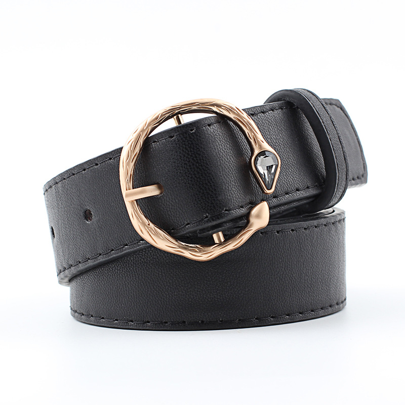 2019 New Luxury Gold Rhinestone Snake Buckle Waist Belt Female Wide Black Red Brown Leather Belts For Women Jeans Pants Cintos