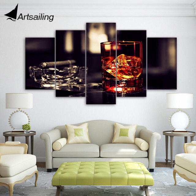 Hd printed whisky ice cigar 5 piece painting wall art canvas print room decor poster canvas