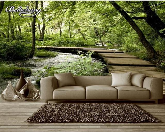 Beibehang Kustom Wallpaper Pemandangan Alam Jembatan Kayu Kayu
