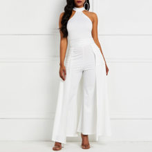 Off Shoulder Sexy Evening Jumpsuit Women White Elegant Halter Party Work Fashion Swallowtail Slim Lady Summer Wide Leg Jumpsuits(China)