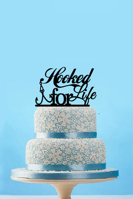 Hooked For Life Fishing Wedding Cake Topper Custom Cake Toppers