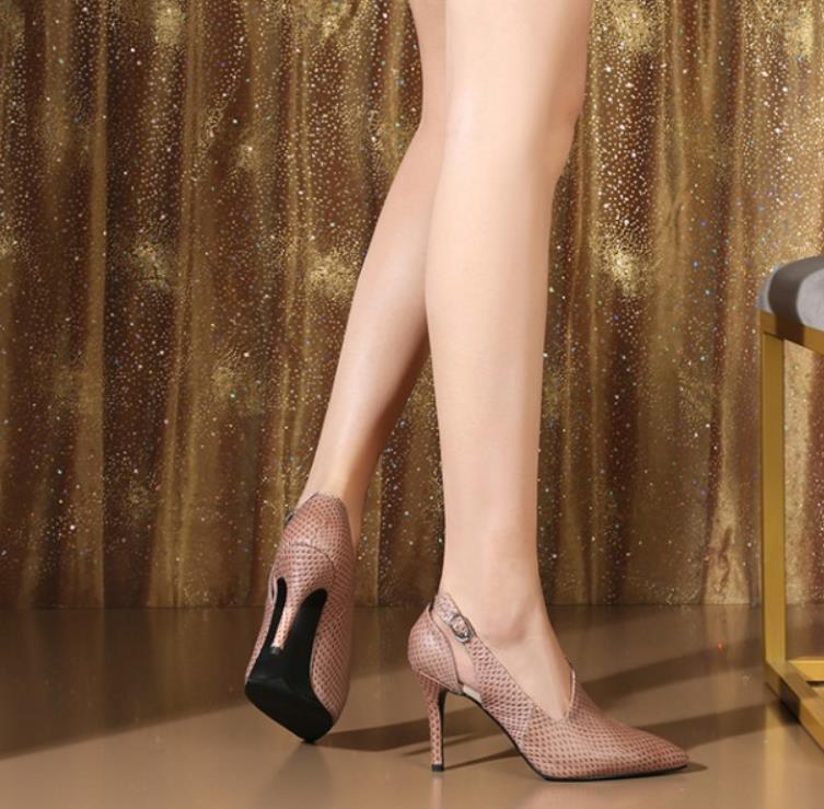 impression Pointu Serpent À Sexy De Cuir 2019 Chaussures Et Noir Mode Hauts rose Printemps En Nouveau Femmes Avec Évidé Talons La Orteils w7qfBI