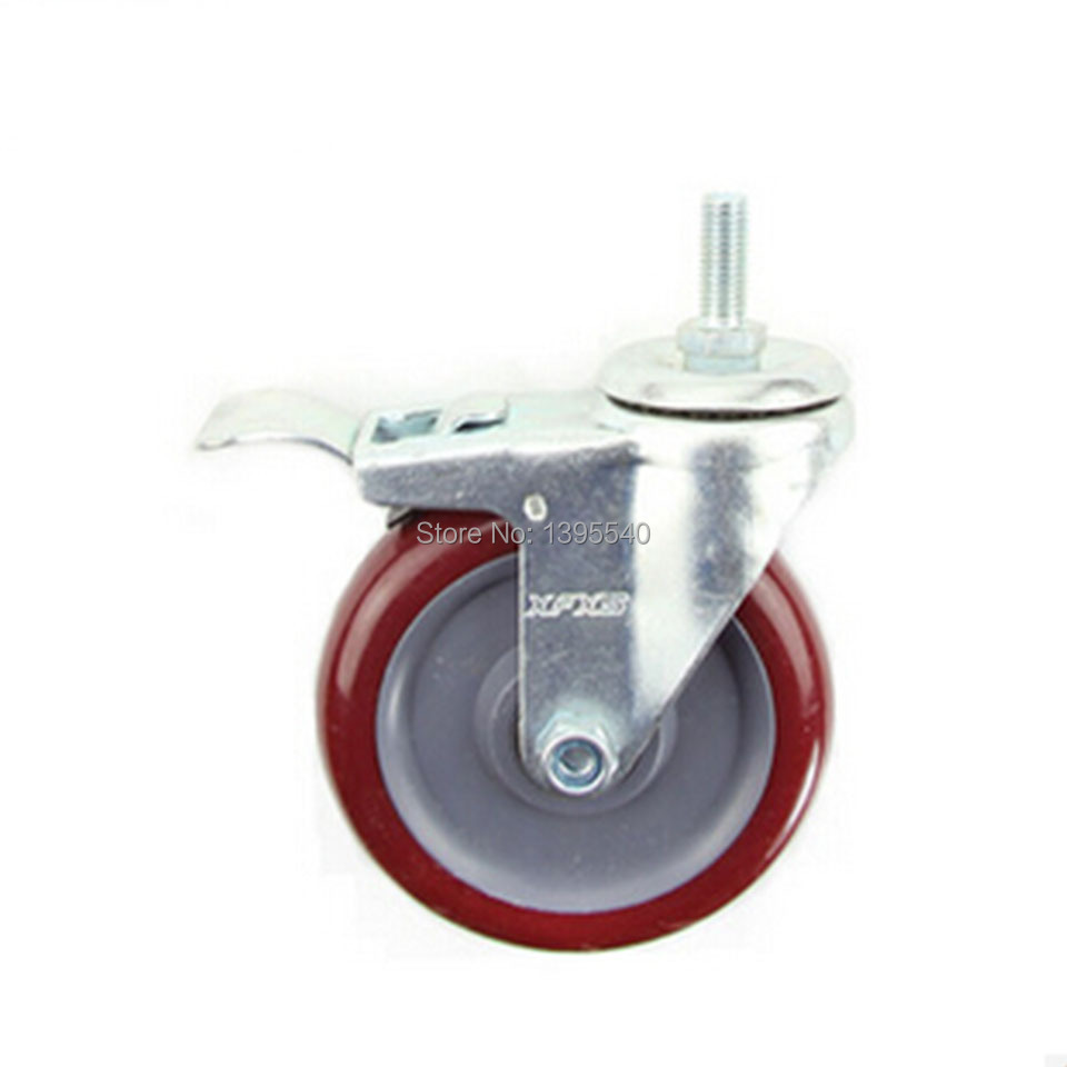 5'' Brake Swivel Wheel Caster Industrial Castor Universal Wheel Bearing Nylon Rolling Medical Heavy Caster Bearing Iron Wheel free shipping 125mm furniture caster medical bed full plastic flat panel universal swivel medical equipment wheel with brake