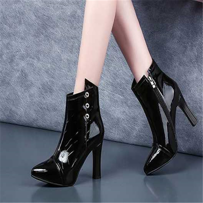 Ayemiland High-Heeled-Shoes Pointed-Toes Woman Fashion Mouth Shallow Pu JH1 Pure-Color