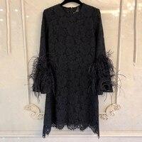 Винтажное женское черное летнее платье с длинным рукавом с круглым вырезом модное шелковое платье для леди 2019 Новое Женское платье