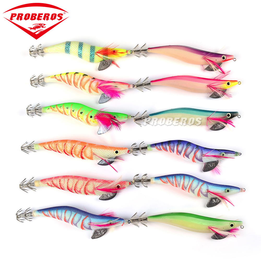 4pc PRO BEROS Fishing Lure Squid Jigs Exported to Usa Market Fishing Tackle 12 color 19.3g/13.5cm Fishing Bait 3.5# Hook