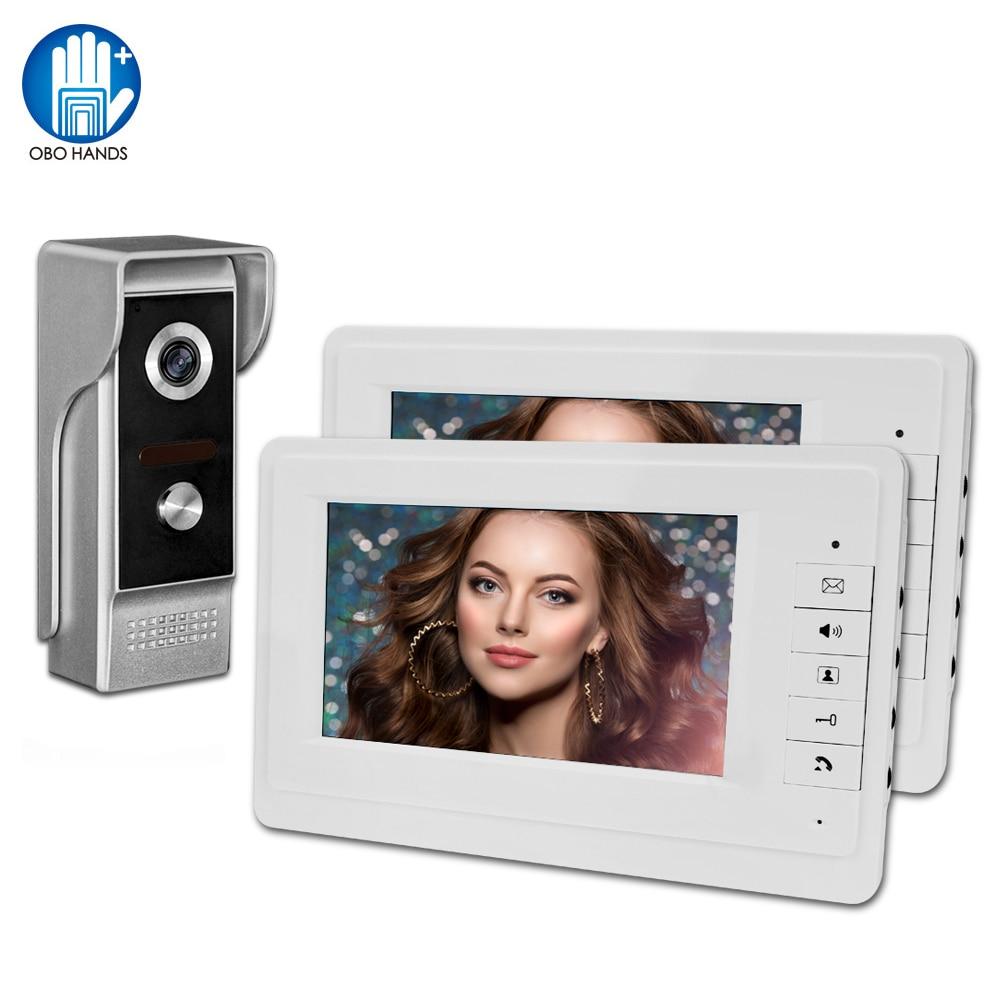 Video Intercom Doorbell 7''TFT LCD Wired Video Door Phone System For Home Indoor Monitor 700TVL Outdoor IR Camera Support Unlock