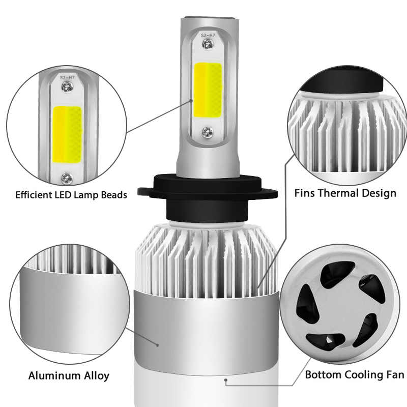 S2 Car Headlight H4 LED H7 LED Bulb 3000K 6000K H1 H3 H8 H11 9005 HB3 9006 HB4 880 881 H27 LED Dual Color Yellow White Light