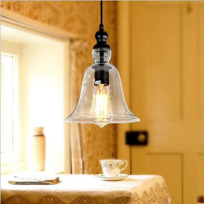 Modern Bell Shape Glass Pendant Light Material Hanging Lamp Edison Vintage Decor Dining Room Home Lighting - Shop1935460 Store store
