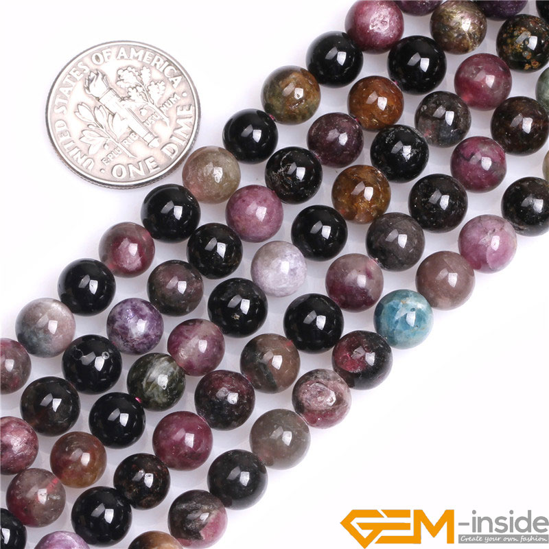 Round Smooth Natual Tourmaline Beads Size: 6mm To 14mm Natural Stone Beads Loose Beads For Jewelry Making Strand 15 Wholesale!Round Smooth Natual Tourmaline Beads Size: 6mm To 14mm Natural Stone Beads Loose Beads For Jewelry Making Strand 15 Wholesale!