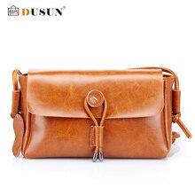 Dusun bolsas mensajero de las mujeres bolso del cuero genuino informal bolso de las mujeres famosas marcas de lujo las mujeres bolsa de diseñador bolsa de hombro de la vendimia