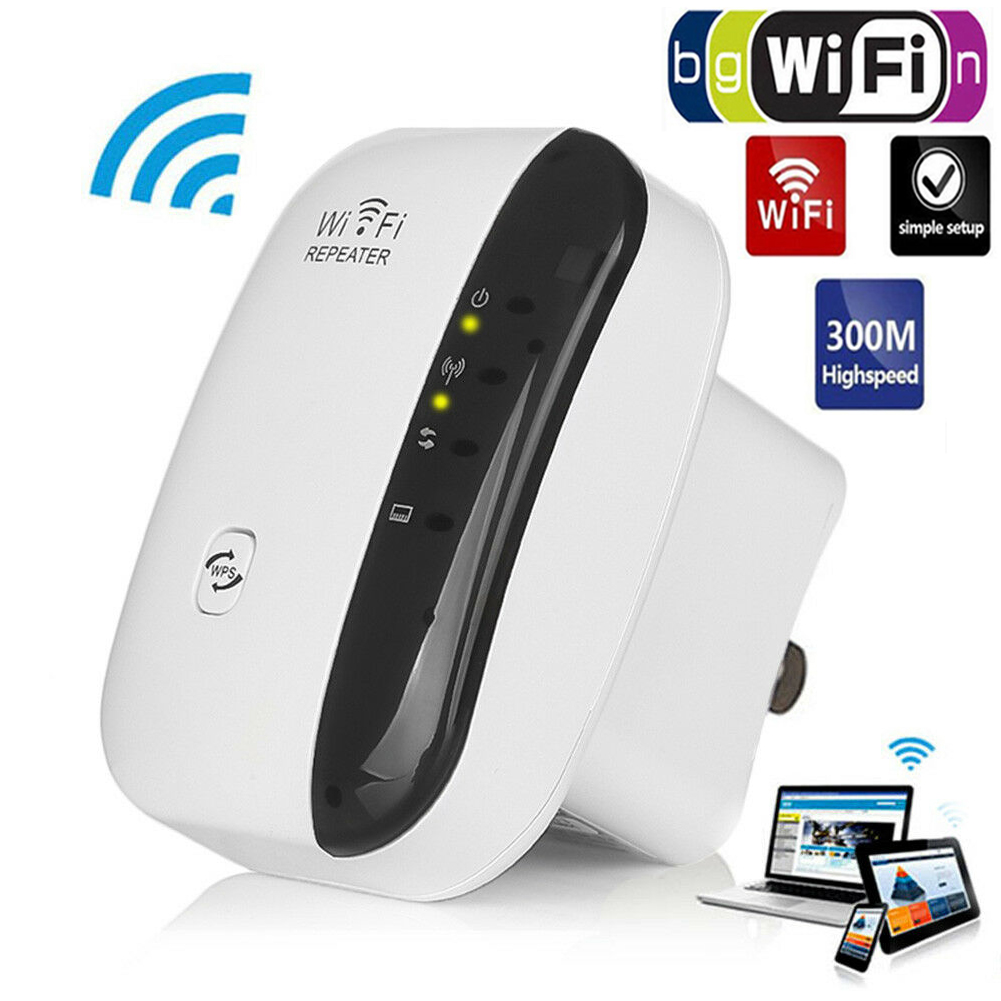 300Mbps Wifi-Repeater Wireless-N Range Extender WiFi Signal Booster Amplifier UK
