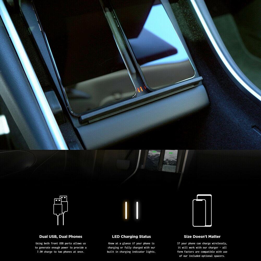 Nouvellement voiture chargeur sans fil Console centrale double téléphones chargeur Portable pour Tesla modèle 3 DC128