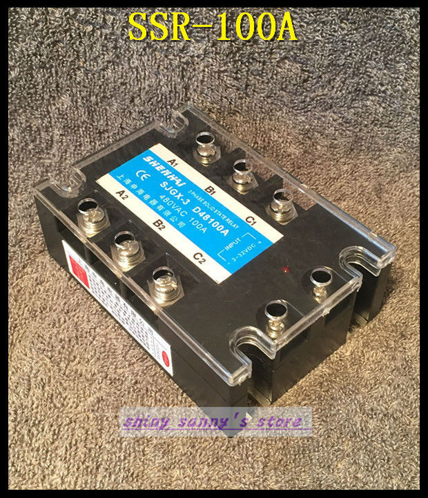 1Pieces SSR-100A 100A 480VAC Three Phase 3 Phase DC AC Solid State Relay Brand New normally open single phase solid state relay ssr mgr 1 d48120 120a control dc ac 24 480v