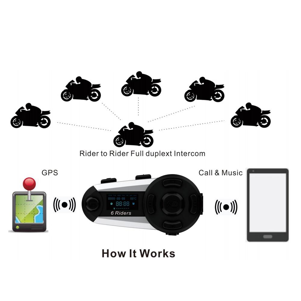 New T20S 6 Motorcycle Helmet Wireless Bluetooth Intercom High Power Full Duplex Headset 6 Riders 1200M FM Waterproof Interphone