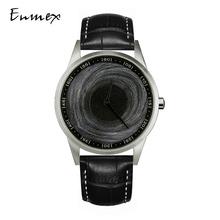 Enmex design wristwatch Canvas strap waterproof creative design stainless steel case 3D black hole face  quartz sport watch canvas strap watch with flower face