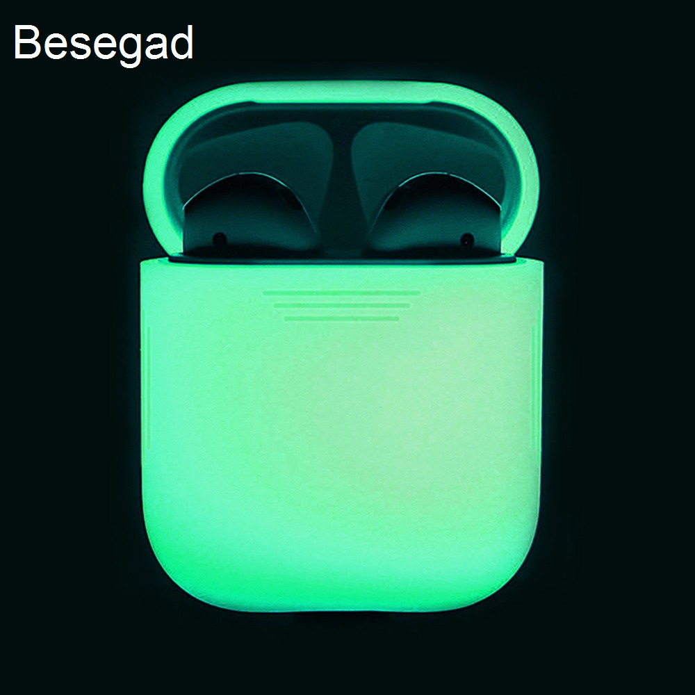 Besegad Silicone Glow in the Dark Protective Noctilucence Case Cover Sleeve Pouch Box for Apple Airpods Wireless Accessories