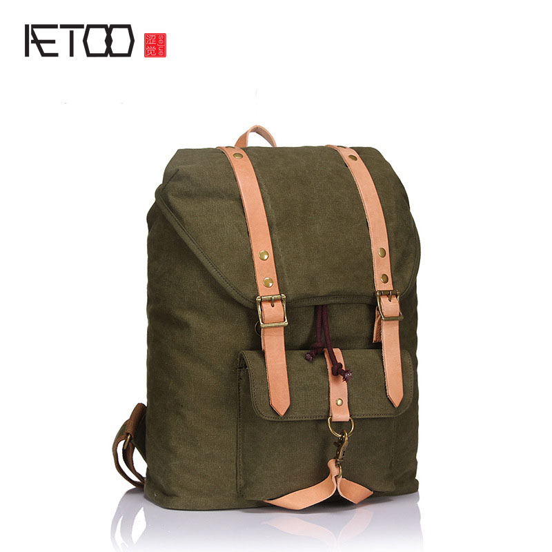 AETOO new men's backpack shoulder bag canvas with tide package large-capacity retro bag aetoo the new canvas shoulder bag tide retro shoulder bag student backpack two color stitching backpack computer bag