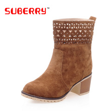 SUBERRY Suede Hollow Boots Solid Nubuck Leather Slip On Wood Grain Thick High Female Tube Medium Boots Big Size 10.5 botas mujer