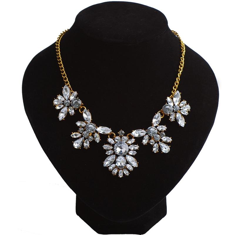 White Rhinestone Women Necklace Pendant Chain Luxury Brand Jewelry Girls Jewellery Garment Accessories Birthday Gifts For Her