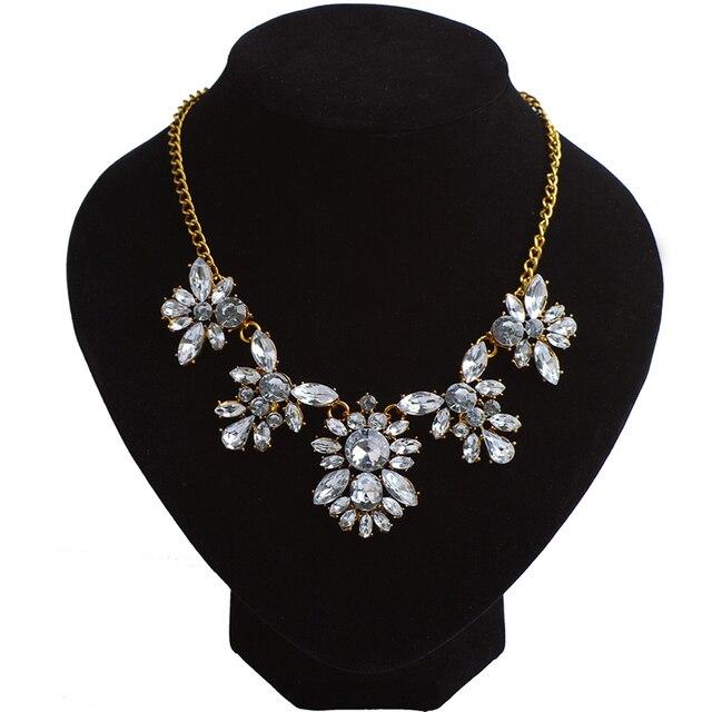 White Rhinestone Women Necklace Pendant Chain Luxury Brand Jewelry Girls Jewellery Garment Accessories Birthday Gifts For