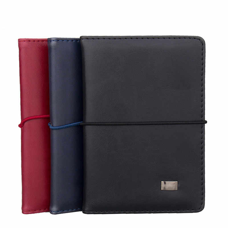 Business Travel Genuine Leather Passport Cover Women Men Credit Card Holder Ticket Wallet Document Organizer Solid Black Blue