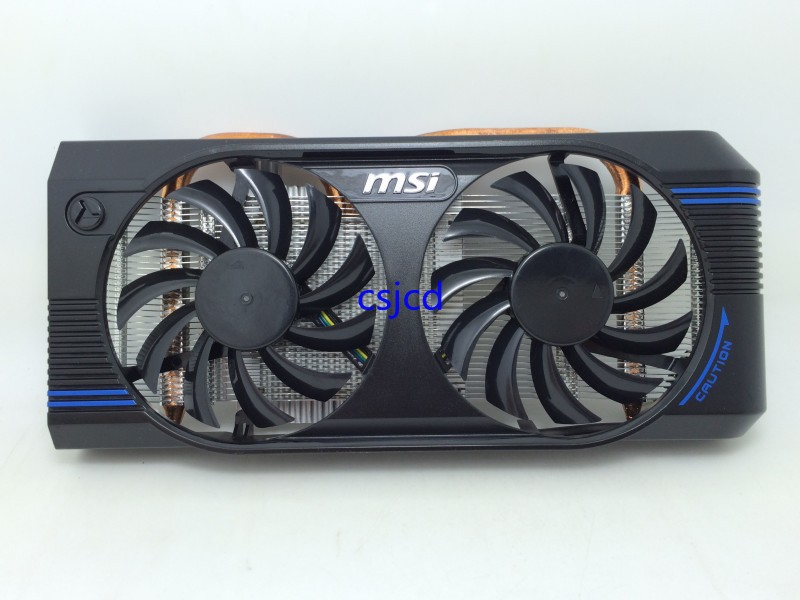 New Original for MSI GTX460 GTX560 Extreme V5 bold two heat pipe radiator cards dual fan 75mm power logic pld08010s12hh 4pin cooling fan for msi gtx 560 570 r6950 gtx460 gtx 560 twin frozr ii graphic card cooler fan