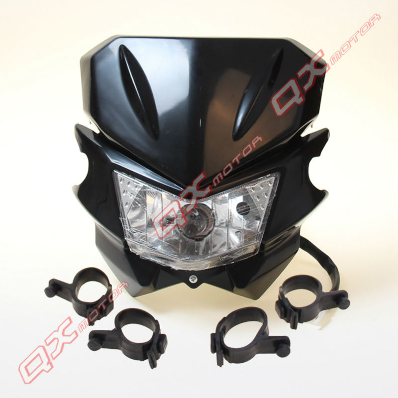 HEADLIGHT HEAD LAMP BLACK MOTORCYCLE STREETFIGHTER DIRT BIKE KLX CRM XR DRZ RMZ RM250 YZ WR цены онлайн