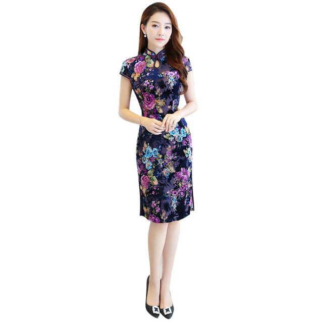 New Chinese Traditional Women Qipao Vintage Oriental Female Cheongsam  Novelty Chinese Formal Dress Size M L XL 87596727d9ed