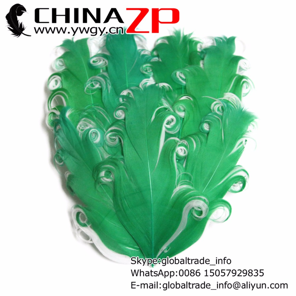 Gold Manufacturer CHINAZP Factory 50pcs/lot Beautiful Green and White Curled Nagorie Feather Pad Headband