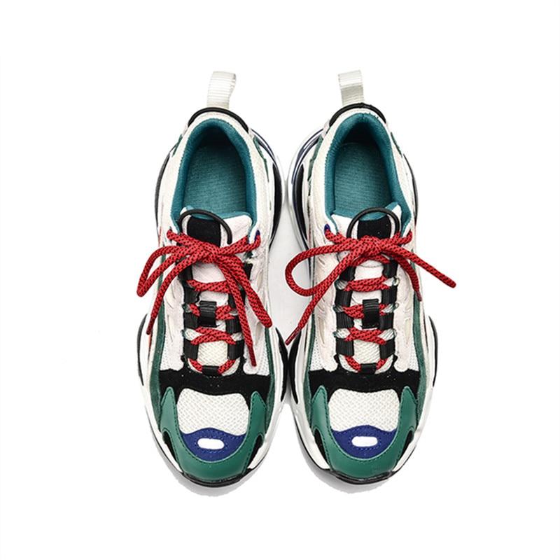 Formateurs Marron Plates Femme Pour Rose Patchwork Décontracté Dames Plate Creepers Sneakers vert Appartements forme Femmes Jady Espadrilles Chaussures Oa8Yw