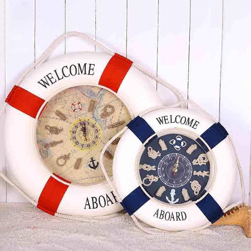 Welcome Aboard Lifebuoy Wall Clock Mediterranean Wood Cloth Living Room Clocks Shop Nautical Home Decor