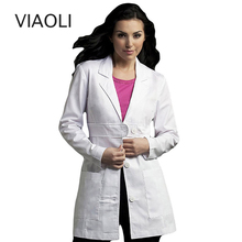 Женская одежда форма медсестры, медицинская служба пальто белая медицинская одежда защита лабораторные пальто с длинным рукавом Тонкий передний пояс