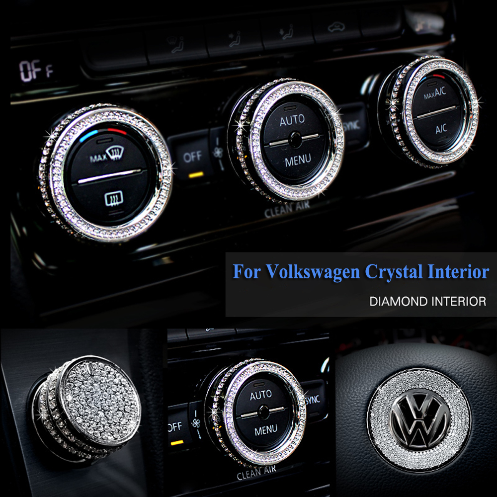 cheapest Car Air Conditioning Sound Knob Crystal Ring Auto Stickers Car Styling Steering Wheel Logo Accessories Interior