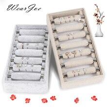Anéis de linho com veludo, cinza empilhável, qualidade superior, joias de linho, exposição, bandeja, suporte para armazenamento, organizador de joias