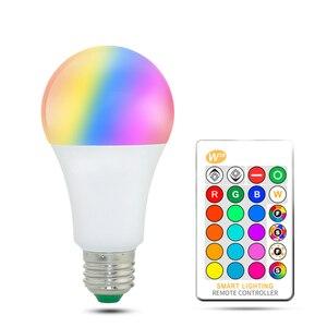 Image 1 - 110 فولت 220 فولت E27 Led لمبات RGB lambadas Led مصباح للمنزل 5050SMD أمبولة مصباح ليد لمبة 24 مفاتيح IR التحكم عن بعد 5 واط/10 واط/15 واط