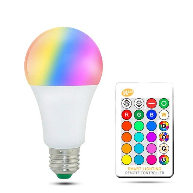 110 فولت 220 فولت E27 Led لمبات RGB lambadas Led مصباح للمنزل 5050SMD أمبولة مصباح ليد لمبة 24 مفاتيح IR التحكم عن بعد 5 واط/10 واط/15 واط