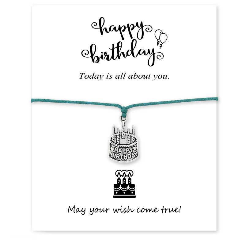 Wszystkiego najlepszego z okazji urodzin ciasto zrobić karta życzeń Charm bransoletka biżuteria dla matki okrągłe koło wosk liny Suede bransoletka hurtownia Dropship