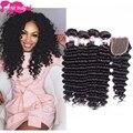 8A Gem Beauty Supply Hair Store Peruvian Deep Wave Virgin Hair With Closure Peruvian Virgin Hair With Closure 3 Bundles Nice