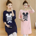 Maternity T-shirts Dresses Pregnant Women Solid Color Mickey Mouse Autumn Soft Clothes Maternity Tops Shirt Dresses Women