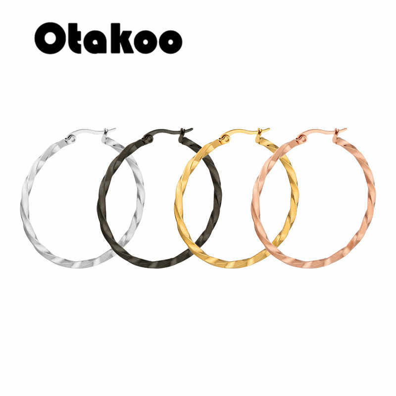 Otakoo Gold color circle creole earrings, Stainless Steel Big Round wives Hoop Earrings gifts for women