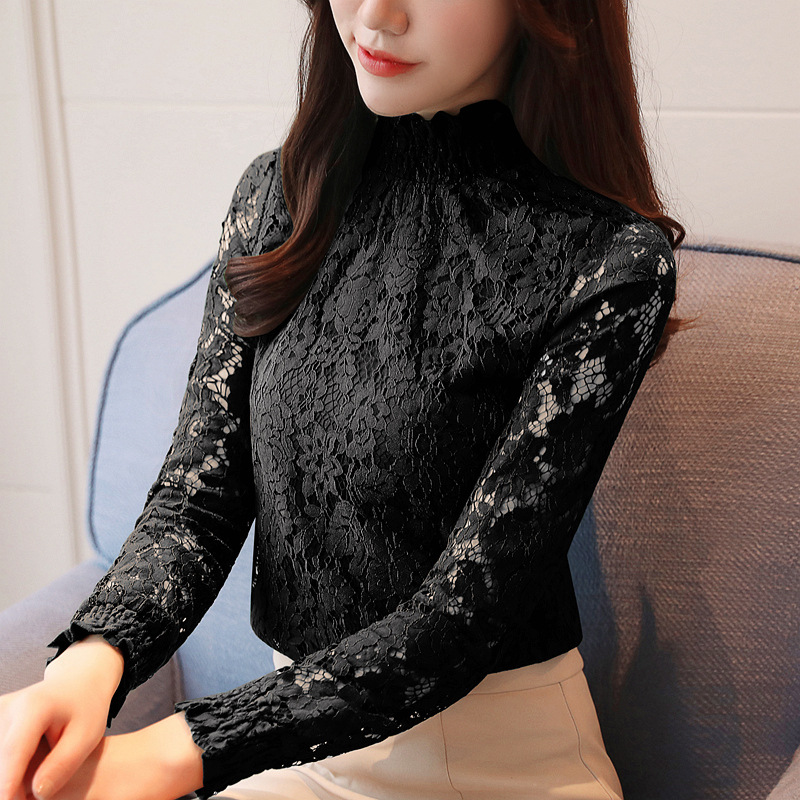 fashion woman blouses 2018 Spring summer Hollow Out Lace Women's tops Blouses Women blusas long sleeve Female shirt plus size 10