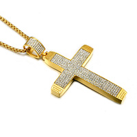 HIP Hop Titanium Stainless Steel 6 Row Iced Out Micro Pave Crystal Cross Pendants Necklaces For