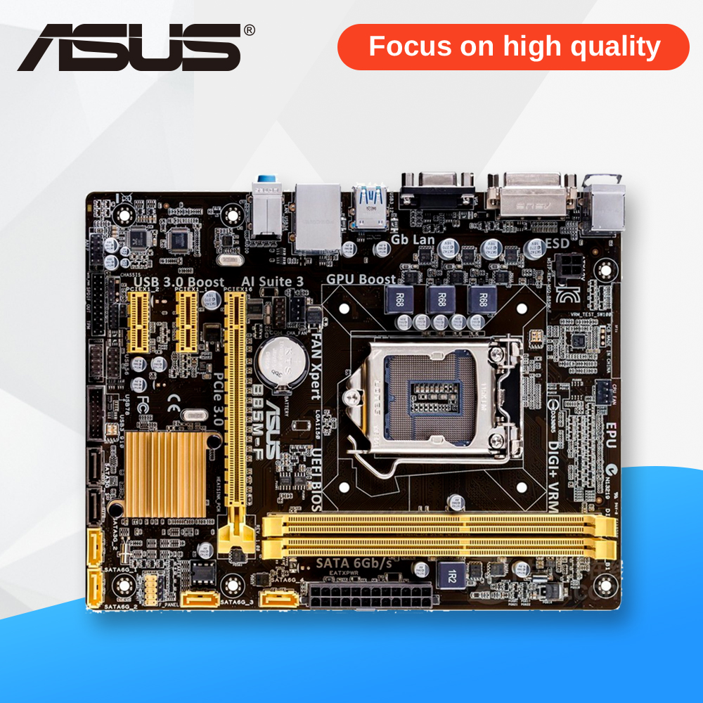 Asus B85M-F Desktop Motherboard B85 Socket LGA 1150 i7 i5 i3 DDR3 16G SATA3 Micro-ATX asus b85m d plus original used desktop motherboard b85 socket lga 1150 i7 i5 i3 ddr3 16g sata3 micro atx