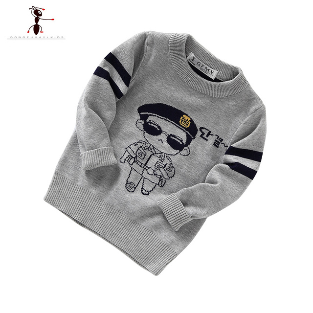 2016 Gray Green O-neck Casual Cartoon Boys Sweater Kids Casual Winter Pull Enfant Garcon Wool Toddler Clothes 2371