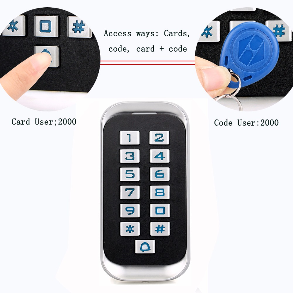 Metal RFID ID Keypad Single Door Stand-alone Access Control & Wiegand 26 bit I/O 2000 User's Cards/Cords Waterproof IP68 F1418D metal rfid em card reader ip68 waterproof metal standalone door lock access control system with keypad 2000 card users capacity